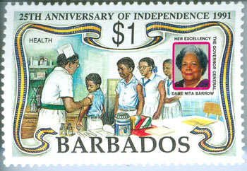 Ruth Nita Barrow on 1991 Barbados stamp