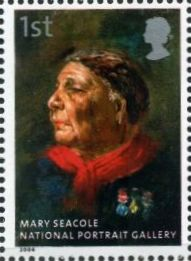 Seacole stamp, 2006, based on portrait by Challen. Note medals.
